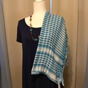 Blue wrap and scarf.